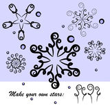 Set of stars or snowflakes royalty free illustration