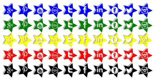 Set of stars social networks icons isolated Royalty Free Stock Photos
