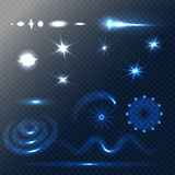 Set of Stars and sparkles effects for design. Unusual elements on half-transparent background. Vector stock illustration