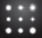 Set of stars and sparkles vector lights effects. Set of glowing lights effects on transparent background. Special effects with transparency. Glowing lights, lens royalty free illustration