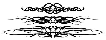 Set of Stars tattoo in black  Royalty Free Stock Photography