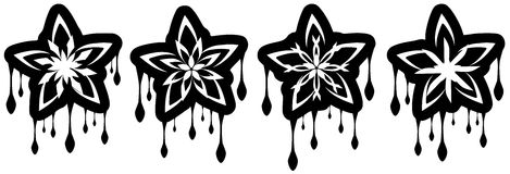 Set of Stars tattoo with drops in black isolated Royalty Free Stock Photos