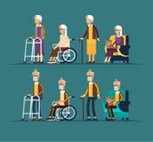 Set starsi persons Dziady i granfathers w wózku inwalidzkim i z piechurem chodzącego kija i paddle wektor royalty ilustracja