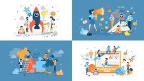 Set of start up illustration with people royalty free illustration