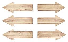 Set stary wietrzejący drewniany roud znak z rozcięciem Obraz Royalty Free