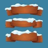 Set starzy drewniani sztandary, faborki, znaki zakrywający z śniegiem ilustracji