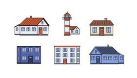 Set starzy miasto budynki Latarnia morska i domy Mieszkanie kreskowa wektorowa ilustracja pojedynczy białe tło ilustracji