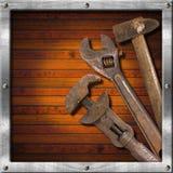 Set Starzy Narzędzia na Drewnianym Panelu Obrazy Stock