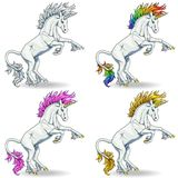 Set State white unicorns colorful. Set the state proud white colorful unicorns with blue eyes and pink, raimbow and gold hairs who got on hind legs on white vector illustration