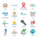 Set of statement, basil, sea horse, shoe print, hookah, SOZ, 100 year anniversary, breast cancer ribbon, lodging icons. Set Of 16 simple  icons such as statement Stock Image