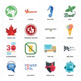 Set of statement, boxing club, helpdesk, post car, 30 anniversary, unemployment, canada leaf, sea horse, moose icons. Set Of 16 simple editable icons such as Stock Photos