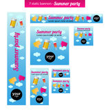Set of static banners with summer party theme. Seven static summer party banners of various sizes. There are full banner, skycraper, square button, square Stock Images