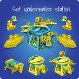 Set station underwater, submarine, motorcycle Stock Images