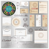 Set of stationary elements with Easter template of vintage engraving elements vector illustration