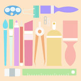 Set of stationary in flat color style Stock Images
