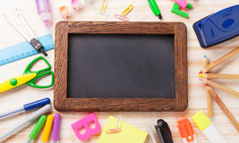 Stationery set frame on wood table Stock Photography