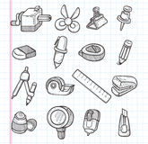 Set of stationery icons Stock Photography