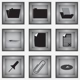 Set of 9 stationery icons Royalty Free Stock Photography