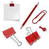 Set of stationery from pencil and paper clips Royalty Free Stock Image
