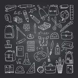 School icons on blackboard Stock Image