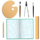 Set of stationery for school and creative work. Isolated objects. Stock Photography