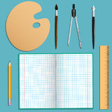 Set of stationery for school and creative work.  objects. Turquoise background. Vector illustrations. Royalty Free Stock Photo