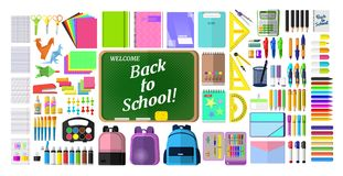 A set of stationery for school,. Goods for creativity and study, Super sale, back to school Stock Image