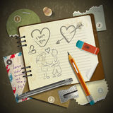 Set of stationery, school supplies and love in vintage Royalty Free Stock Image