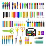 A set of stationery for schoolchildren. Goods for creativity Royalty Free Stock Photography