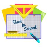 Stationery for schoolchildren. A set of stationery for schoolchildren, goods for creativity and study, Back to school Royalty Free Stock Photo