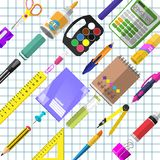 A set of stationery for schoolchildren. Goods for creativity and study Stock Photos