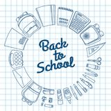 A set of stationery for schoolchildren. Goods for creativity and study, Back to school Royalty Free Stock Photos
