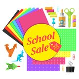 A set of stationery for schoolchildren. Goods for creativity and study, Back to school Royalty Free Stock Photo