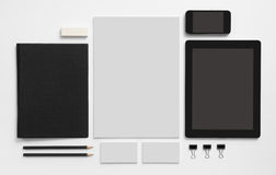 Set of stationery with tablet and mobile phone Stock Photography