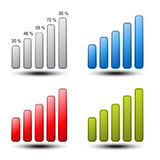 Set of statistic graph - symbol, icon Stock Photos