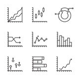Set statistics icon. Graphic analysis and asset management. Information chart profits. Business efficiency and investment. finance data. Line art, web and Royalty Free Stock Photos