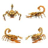 Statuettes of wooden scorpions isolated on a white background Stock Photo