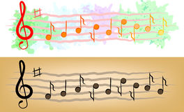 Set of stave kinds with treble clef and notes Royalty Free Stock Image