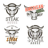Set of `steak house` emblems, bdges, labels with retro-styled bull`s head. Set of `steak house` emblems, badges, labels with retro-styled bull`s head. Stock Stock Photo