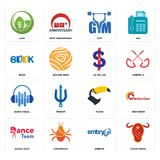Set of steak house, embryo, dance team, tucan, audio visual, us dollar, book, gym, leaf icons. Set Of 16 simple  icons such as steak house, embryo, cockroach Royalty Free Stock Image