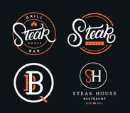 Set of Steak House logos. Set of Steak House hand written lettering badges, labels, logos and emblems for restaurant, foods shop, steak house, grill and barbecue Royalty Free Stock Images