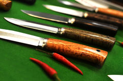 A set of steak knives as sharp pepper Royalty Free Stock Photography