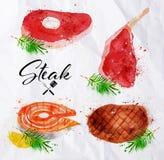 Set steak watercolor Stock Photography