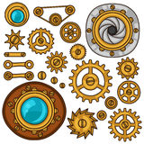 Set of steampunk gears, screws and cogwheels in Stock Photography