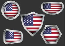 Set of steel badges with flag of USA vector illustration