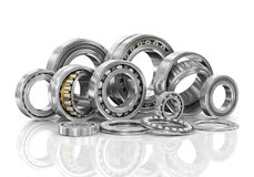 Set of steel ball bearings in closeup. Royalty Free Stock Image