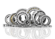 Set of steel ball bearings in closeup. Stock Image