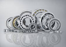 Set of steel ball bearings in closeup. Stock Photography