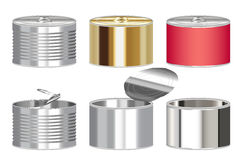 Set of a steel cylinder canned food box. A set of a steel cylinder canned food box Royalty Free Stock Photography