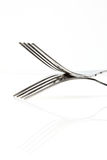A set of steel forks Royalty Free Stock Image